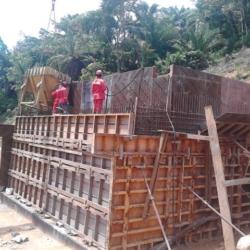 Bétonnage du mur de front et des murs en retour de la culée